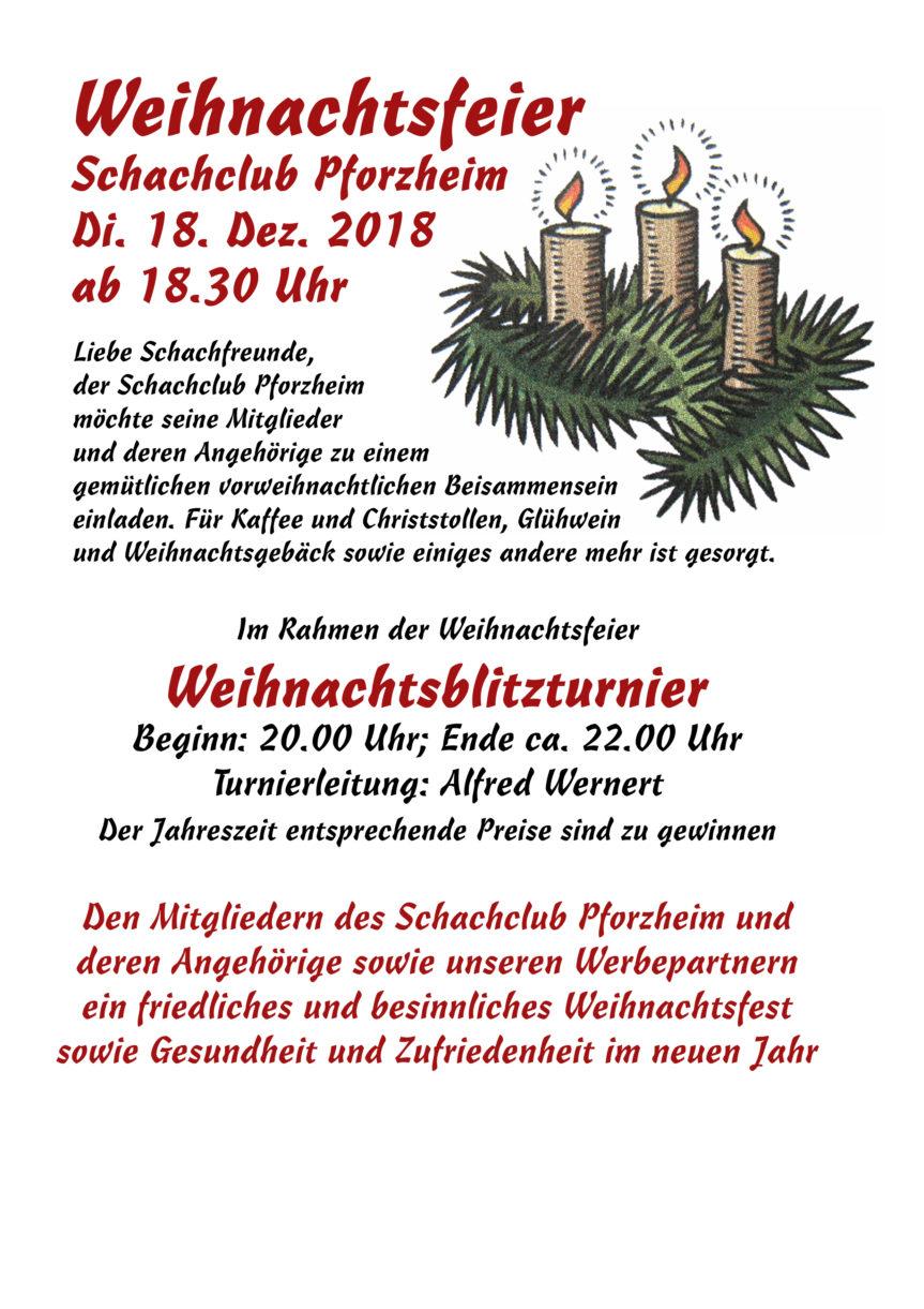 Weihnachtsfeier mit Blitztunier am 18. Dez. ab 18.30 Uhr
